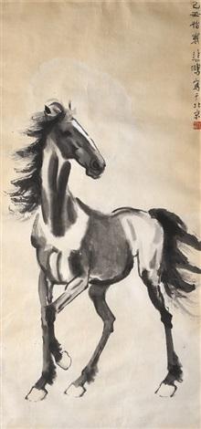 骏马图 (a standing horse) by xu beihong