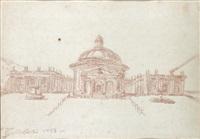 vue de la place et de l'église de l'assomption à l'ariccia by jean-robert ango