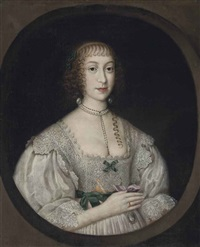 portrait of a lady traditionally identified as lady needham, half-length, in a lace-trimmed white dress with green ribbons, and a pearl necklace by gilbert jackson