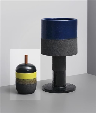 lidded pot model no 191 from the ceramiche di lava series by ettore sottsass