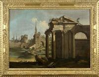 caprice architectural avec ruines et personnages by antonio visentini
