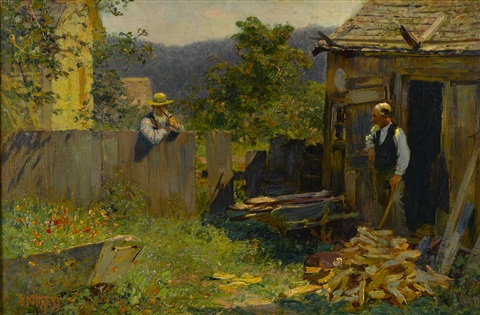 chopping wood by edward henry potthast