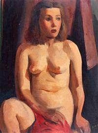 desnudo con paño rojo by ernesto scotti