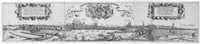 wahrhafftige contrafactur der löblichen reychstat nüremberg, gegen den nidergang der sonnen (ansicht der stadtnürnberg gegen westen) (in 3 parts) by hans sebald lautensack