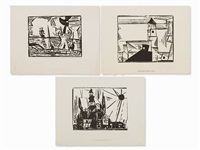 landscapes (3 works) by lyonel feininger