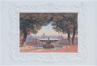 la fontaine de la villa médicis à rome by salomon corrodi