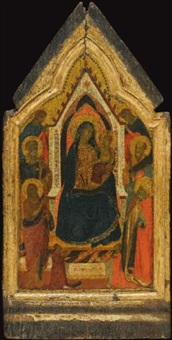 the madonna and child enthroned, flanked by saints john the baptist, peter, paul and zenobius (?), and two angels, below them two donors by taddeo gaddi