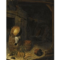 barn interior with a still life of carrots, gherkins, a barrel and a copper pot, with an earthenware bowl and a strainer by barent cornelisz
