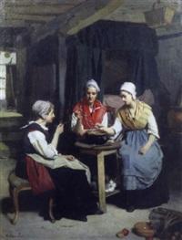scène d'intérieur avec trois paysannes by eugène ernest hillemacher