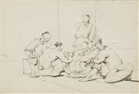 chinese coolies playing cards; a fishmonger (2 works) by george chinnery