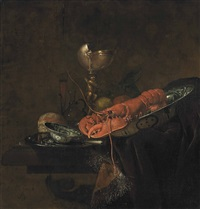 a lobster, a peach and a lemon in a wanli kraak porcelain plate, a loaf of bread, a bowl and a knife on a pewter plate, a gilt nautilus cup and a wine... by juriaen van streeck