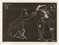femme nue se cachant le visage avec deux homme by pablo picasso
