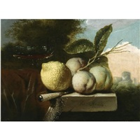 a still life of a lemon, peaches, a venetian glass and a knife, all on a stone ledge draped with a red cloth, in a landscape by juriaen van streeck