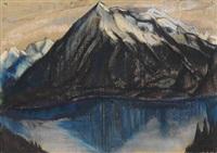 bergsee vor schneebedecktem gebirge by käthe loewenthal
