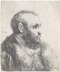 büste eines bärtigen mannes im profil by jan lievens