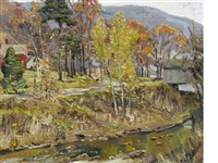 autumn scene with river by george gardner symons