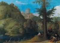 landschaft bei tivoli mit einem eremiten by johann (hans) konig