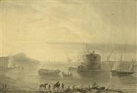 vista de praia com barcos e figuras by johannes bosboom