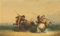 two indians killing a buffalo by alfred jacob miller