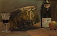 bodegón con botella de sidra by antonio amorós botella