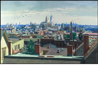 view across the newark rooftops to new york by vincent jannelli