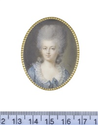 marie adélaïde de montholon, comtesse de narbonne (1767-1848), wearing blue dress with a ribbon bow at her corsage, frilled white collar, her wig powdered by antoine vestier