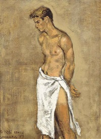 standing man with towel by walter stuempfig
