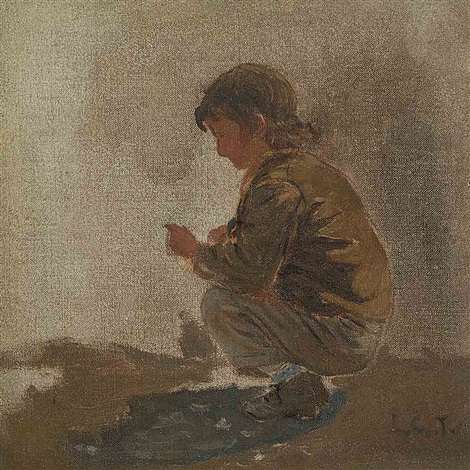 study of a young boy by louis comfort tiffany