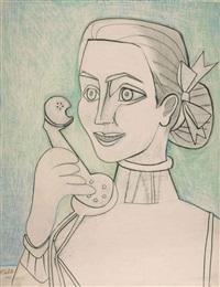autoportrait au téléphone by françoise gilot