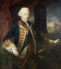 portrait of prince edward augustus, duke of york, three-quarter-length, in a blue velvet coat with gold-trimmed lapels and the star and sash of the order of the garter, standing in a loggia with a view of the colosseum beyond by pompeo girolamo batoni