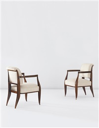 ledroua armchairs, model no. 67ar/101nr, designed for the drouant restaurant, paris (pair) by émile jacques ruhlmann