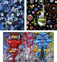 mcbst, 1959->2011/ jellyfish eyes/ red demon and blue demon with 48 arhats(set of 3) by takashi murakami