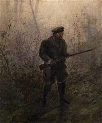 hunter in the forest by ivan pavlovich pokhitonov