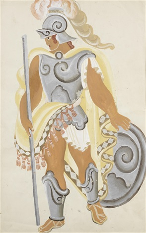 costume design for a warrior from the sacrifice of atoraga by pavel tchelitchew