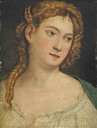 portrait of a lady, bust-length, in a white shirt by titian (tiziano vecelli)