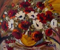 still life vase with flowers by cornelius bosch