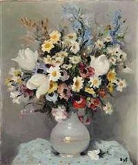 tulipes et iris au vase d'opaline by marcel dyf