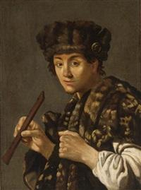 a shepherd with a flute by hendrick terbrugghen