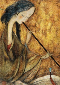 lady playing the bamboo flute (embroidered by sima jianming, guided by guan peiying) by liu guoding