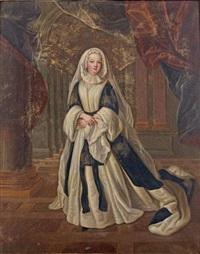 portrait de louise françoise de bourbon, princesse de condé, en tenue de veuve by pierre gobert