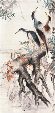 花鸟图 立轴 设色纸本 by fang rending