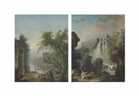 the canal; and the cascade (pair) by hubert robert