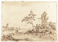 lagoon capriccio with a tower by francesco guardi