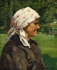 old tyrolean woman by walter ufer