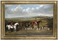 lord granville, master of the royal buckhounds, with charles davis, huntsman, and whips r. bartlett and harry king by george henry laporte