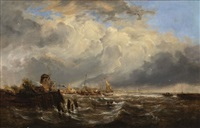 view of coastal town by john constable