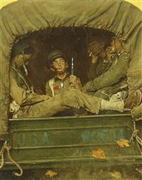 willie gillis in convoy by norman rockwell