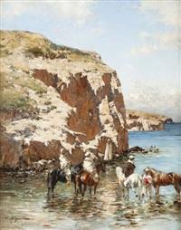cavaliers au bord de mer by victor pierre huguet