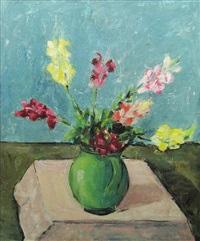gladiola in green pot by eugen gasca
