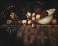 früchtestillleben auf einem teppich by francesco fieravino (il maltese)